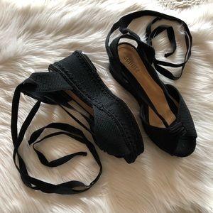 Schutz Sersha Black Woven Wedge Lace-Up Sandal